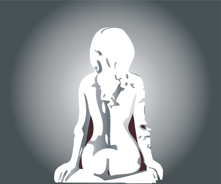 naked woman sitting: bare from the back Illustration