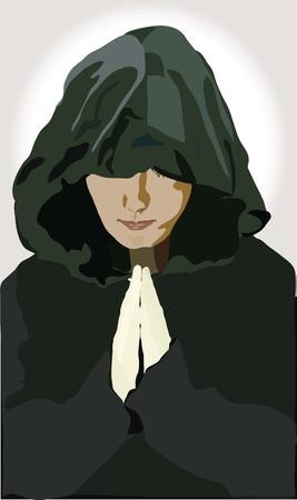man is in a black cloak Vector