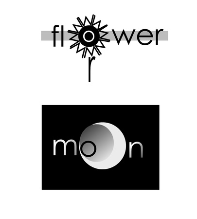 logos of flower and moon Stock Vector - 10644383