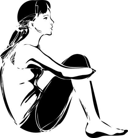 a sketch of a girl sitting hugging her knees Vector