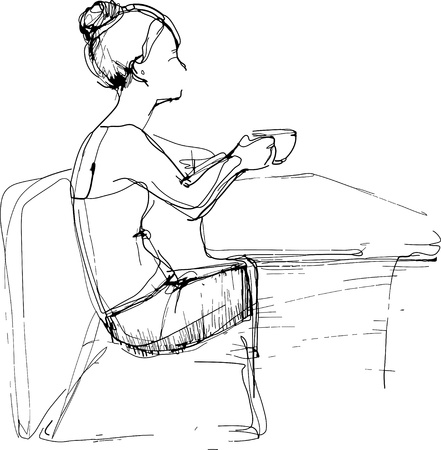 woman drinking tea: a sketch girl drinking tea at the table