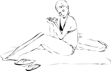 a girl in a swimsuit at the beach sitting  and eat Vector