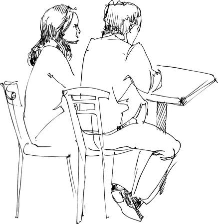 woman back of head: collega e una ragazza al tavolo