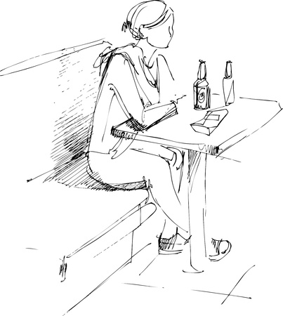 hair do: girl at the table and bottle of beer