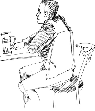 a fellow: fellow at the table with glass of beer Illustration
