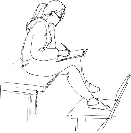 astride on a school desk Stock Vector - 10681089