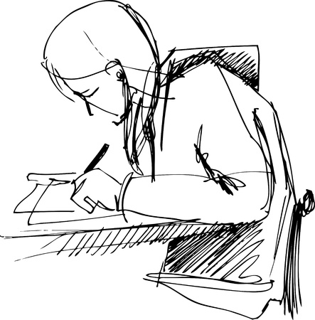 left handed:  with bent above a table