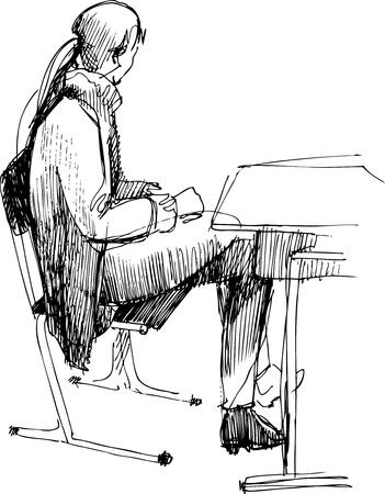 after school:  girl after a school desk