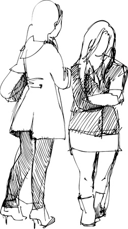 two girls communicate Vector