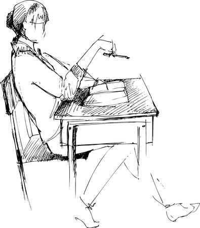 hair do:  girl after a school desk