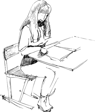 girl after a school desk Vector
