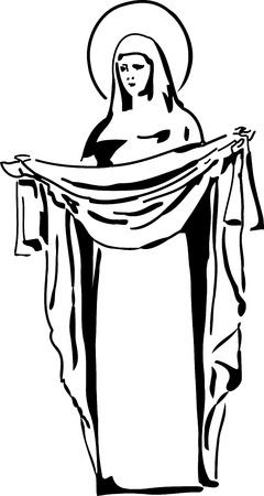 een zwart-wit beeld van de Maagd Maria Vector Illustratie
