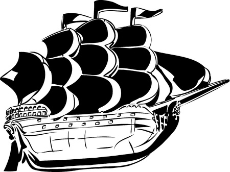 black and white sketch wooden vessel under sail Vector