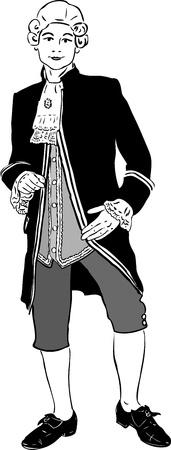 peluca: un esbozo de j�venes en una peluca blanca y una chaqueta negra