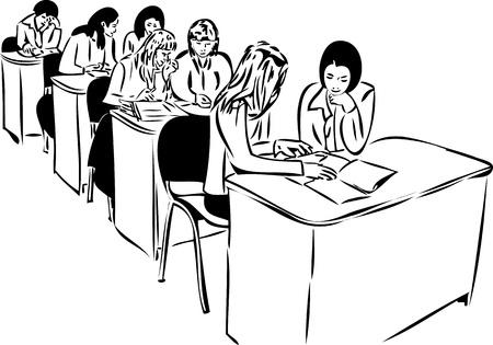 black lady talking: Esbozo de las ni�as en la audiencia sentado a la mesa Vectores