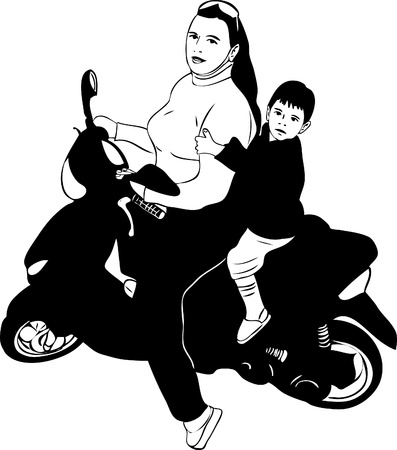 a girl on a motor scooter driven by a boy Vector