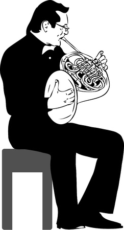 a black and white picture French horn Vector