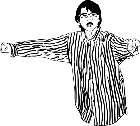 eye sockets: a guy with glasses in a striped shirt Illustration