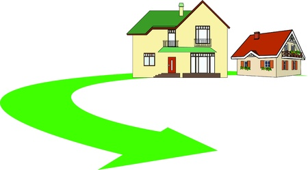 a color drawing of houses on a white background Vector