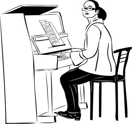 Szkic pianista kobieta w okularach Zdjęcie Seryjne - 10747500