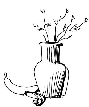 natura morta con fiori: immagine della brocca con colori e banane � nero