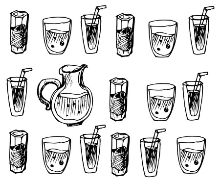 flowed: image of jug and glasses is black with drinks