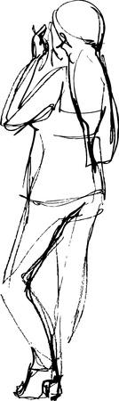 woman back of head: immagine della ragazza bionda in pantaloni � nero