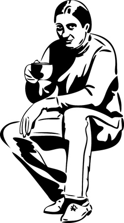 a man with a cup of tea drinkers Vector