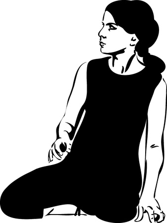 leotard: a girl in a black leotard sits on the floor
