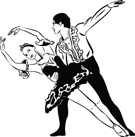 pointe shoes: black and white sketch ballet dancing couples Illustration