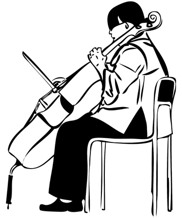 fingerboard: a sketch of a woman playing a cello bow