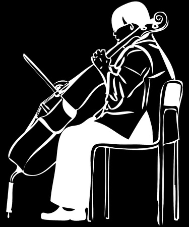 un boceto de una mujer tocando un arco violonchelo