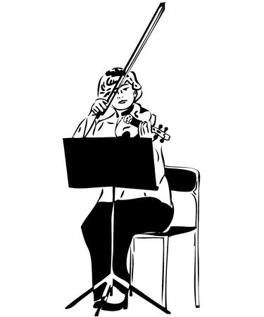 un esbozo de una chica jugando una viola violín