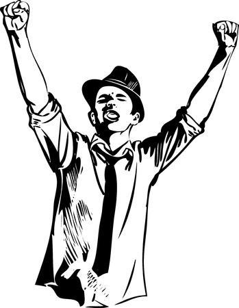 bras lev�: un gars dans le chapeau de la leva les mains et les cris Illustration