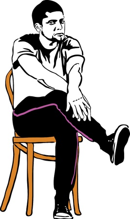 hand on forehead: a sketch of the guy in sneakers sitting on a wooden chair