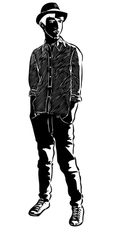 button up shirt: a sketch of the guy in the hat hands in pockets Illustration