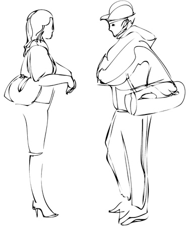 young girl feet: a sketch of boy and girl talking while standing