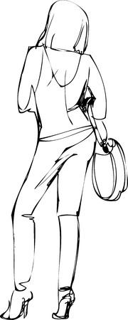 woman back of head: disegno di una ragazza in pantaloni con una borsa sulla spalla Vettoriali