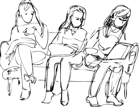 backrest: a sketch of the three girls sitting on the couch one