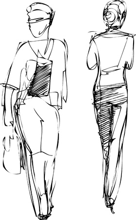 a Sketch of two girls going in different directions Vector