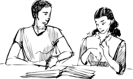 sketch of a guy and a girl reading a book at the table Stock Vector - 10960261