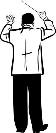 chef d orchestre: un conducteur croquis m�le avec baton Illustration
