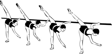 barre: a sketch of the four girls in ballet class