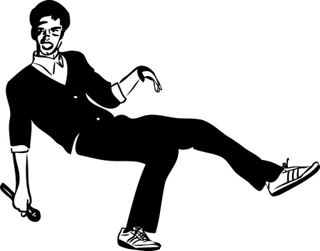 a sketch of a guy in a black singer with a microphone Vector