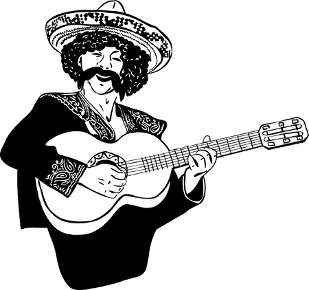 sketch Mexican men singing and playing guitar Vector