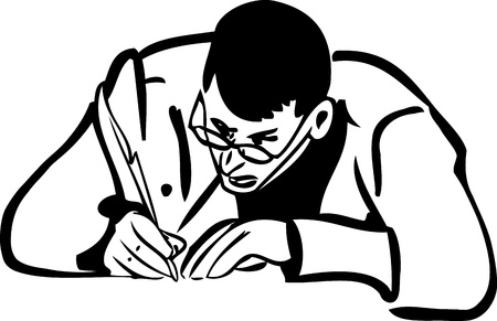 quill pen: a sketch of a man with glasses writing quill pen Illustration