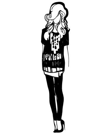 white blouse: esbozo de una chica rubia en tacones altos