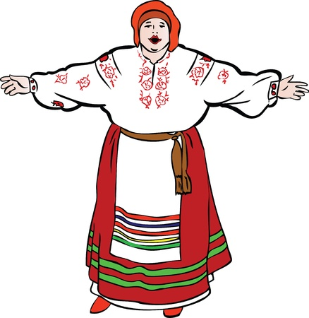 plump lips: a fat woman sings in Ukrainian costume and meets Illustration