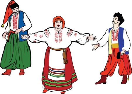 a group of people in the Ukrainian national costumes Vector