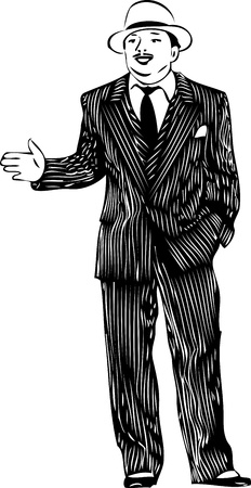 sketch of a man in a striped suit and white hat Vector